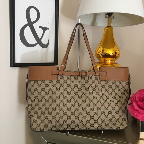 cff730872ddc38 Gucci Bags | Authentic Monogram Buckle Portfolio Tote | Poshmark